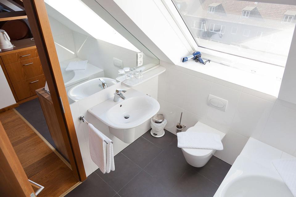 Das Badezimmer unserer Penthouse Suite